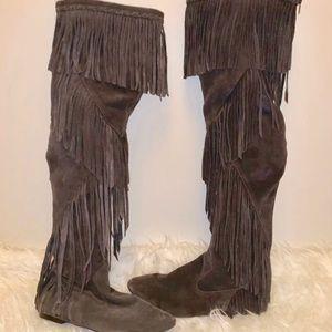 Sam Eldemen Thigh High Fringe Boots